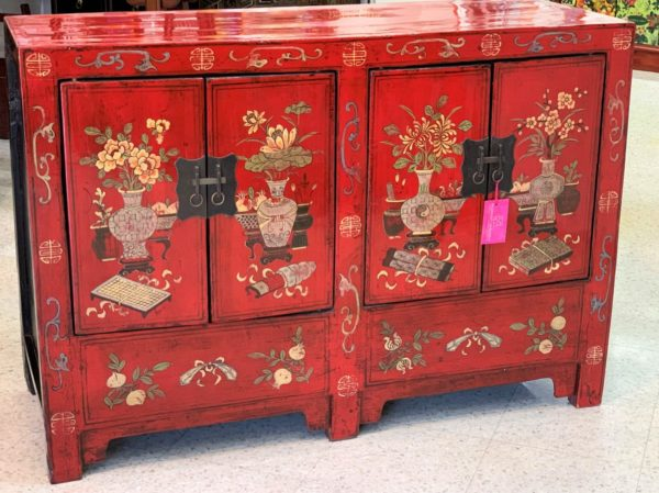 Chinese Red Lacquered Cabinet