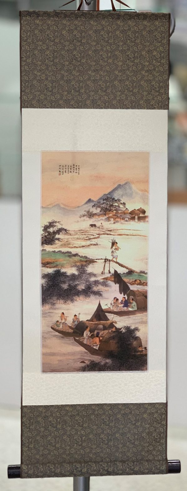 Chinese Silk Scroll River Scene
