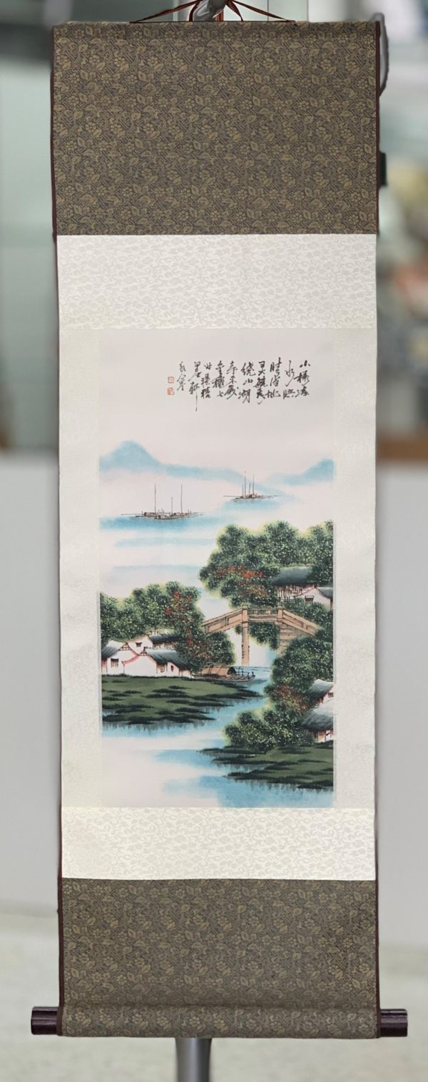 Chinese Silk Wall Scroll River Scene (2)