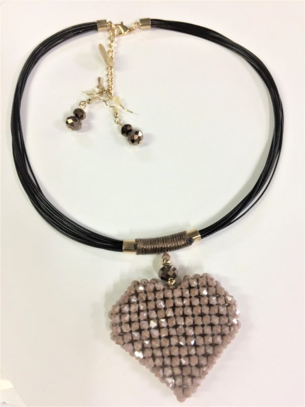 Necklace Beaded Heart with Earrings