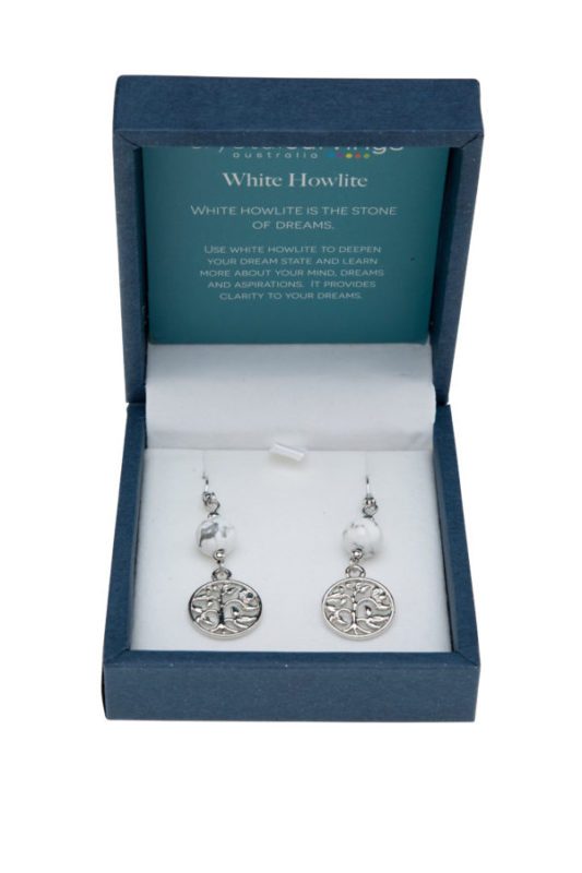 Earrings Tree of life White Howlite